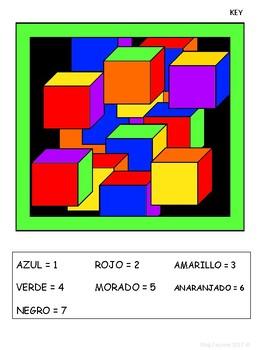 Color par Número Set 2 – Spanish Color by Number Worksheets