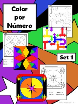 Color por Número Set 1 – Spanish Color by Number Worksheets