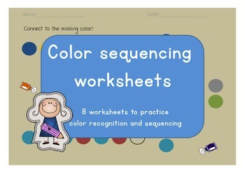 Color sequencing & recognition worksheets for math center & morning work