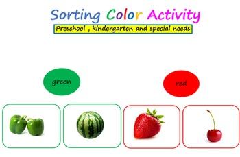 Color sorting activity - Preschool, kindergarten and special needs