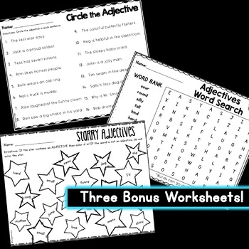 Adjective Worksheets: Color the Adjectives (6 Pages)!