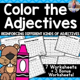 Adjective Worksheets: Color the Adjectives
