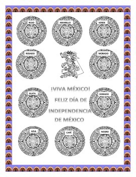 Color the Aztec Calendar & Headband-Word Search Mexican Foods