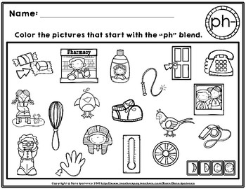 Color the Beginning Digraphs Phonics Practice Pages