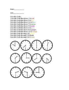Color the Clocks: Time to the Hour and Half Hour