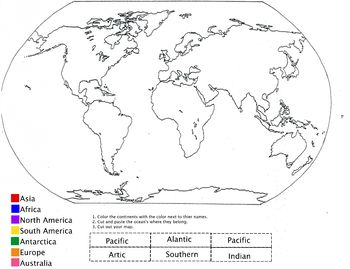 Color the Continents and Label the 5 Oceans