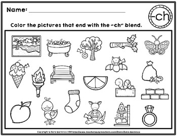 Color the Ending Digraphs Phonics Practice Pages
