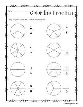 Color the Fraction Math Worksheet