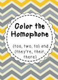 Color the Homophone (Their, There, They're) (To, Two, Too)