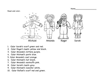 Color the KIds for Winter!  A Clothing and Colors Activity