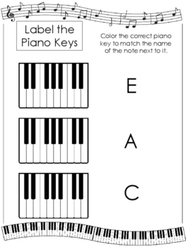 Color the Keys Worksheets. Beginning Music. Preschool-2nd Grade. Piano