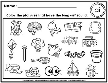 Color the Long A Phonics Practice Pages