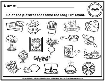 Color the Long E Phonics Practice Pages