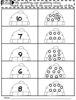 Freebie Math Number Sense:Color the Matching Cap 1-10 Number Recognition