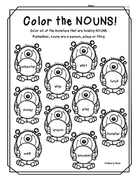 Color the Nouns! Color Worksheet