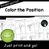 Color the Position (Kindergarten Positional Word Sheets, K.G.1)