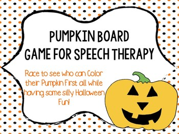 Color the Pumpkin Board Game for Speech Therapy