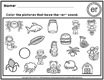 Color the R-Controlled Vowels Phonics Practice Pages