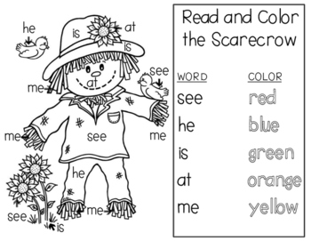 Color the Scarecrow by Sight Word