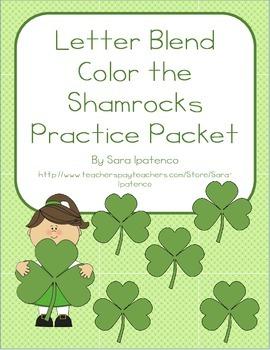 Color the Shamrock Letter Blends Phonics Practice Packet
