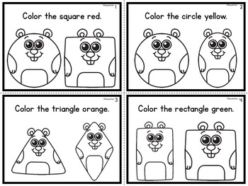 Color the Shape Task Cards Groundhog Theme