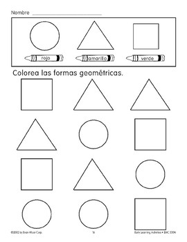 Color the Shapes: Red Circles/Yellow Triangles/Green Squares