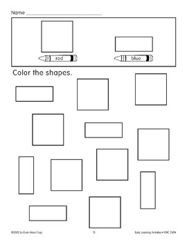 Color the Shapes: Red Squares/Blue Rectangles