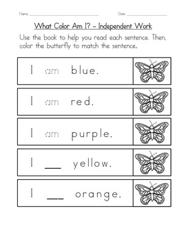 """Sight Word Book and Practice for """"Am""""  Color the Sight Word Book 10"""