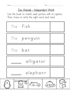 """Sight Word Book and Practice for """"The""""  Color the Sight Word Book 5: Zoo Animals"""