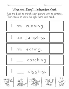 """Sight Word Book and Practice for """"Am""""  Color the Sight Word Book 9"""
