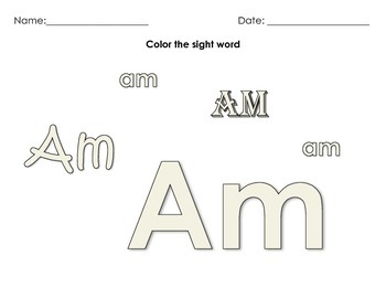 Color the Sight Word- Dolch Primer Word Work (modifiable)