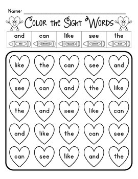 Color the Sight Words - Hearts
