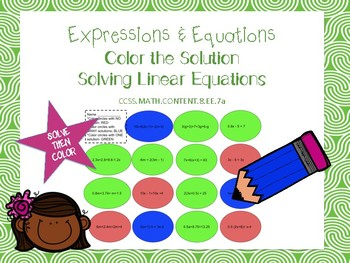 Solving Linear Equations: Color the Solution