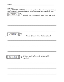 Color the Text Evidence Comprehension Test Prep