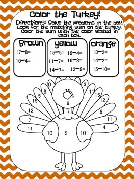Color the Turkey Addition and Subtraction Worksheets