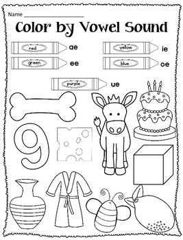 Color the Vowel Pack Featuring Short Vowels, CVCe vowels, & R controlled vowels