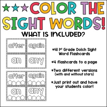 Color the Words!  {1st grade sight words}