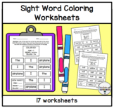 Color the Words Worksheets (Words 1-50 from the Edmark Level 1 Word List)