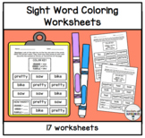 Color the Words Worksheets (Words 101-150 from the Edmark Level 1 Word List)
