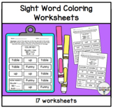 Color the Words Worksheets (Words 51-100 from the Edmark Level 1 Word List)