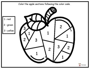 Color the apple sections