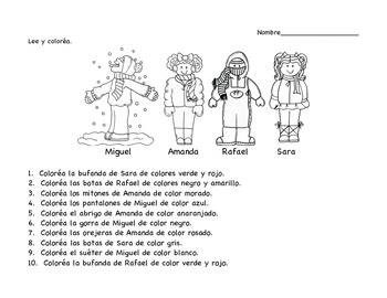 Color the kids for Winter!  A Clothing/Colors Spanish Activity