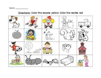 Color the nouns and verbs