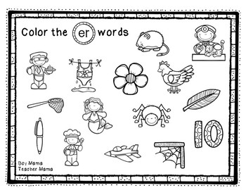 Color the r-controlled Vowel Pictures with Short Vowels