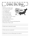 Color the regions of the US and other geographic features