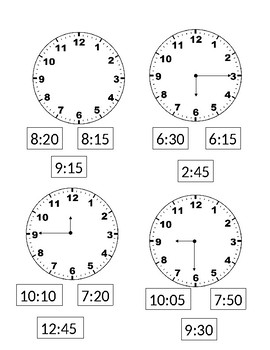 Color the square with the correct time.
