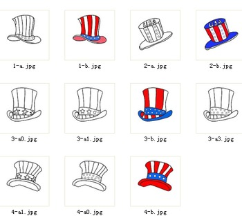 Coloring pages - 4 Patriotic American hats