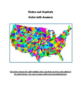 Color with Answers! States and Capitals practice