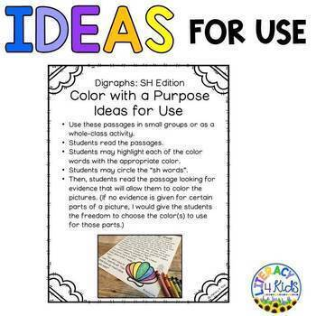 Color with a Purpose Reading Passages (SH Words) for First and Second Graders