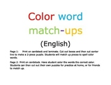 Color word match-ups puzzle for primary and secondary colo